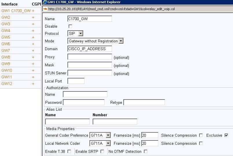 Howto:FXS FXO trunk with IP22 media gateway and Cisco 1700